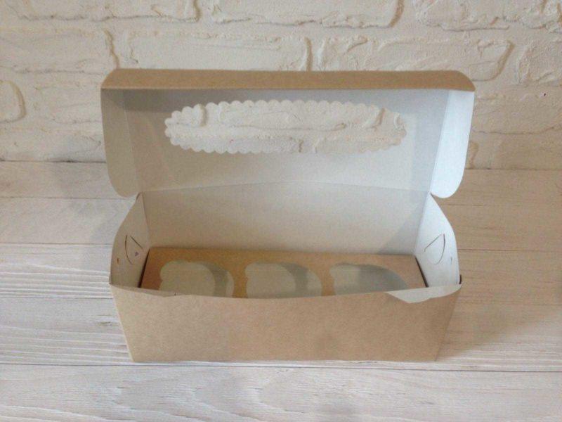Коробка для капкейков (3 ложемента) с окном