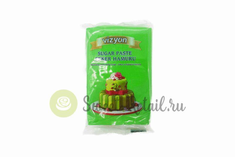 Зеленое сахарное тесто (мастика) VIZYON, 500 гр.