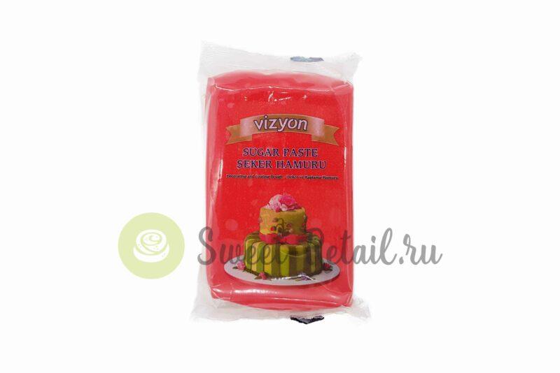 Красное сахарное тесто (мастика) VIZYON, 500 гр.
