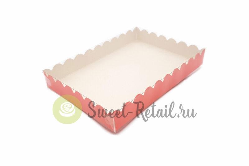Коробка розовая 22*15*3 (см) с прозрачной крышкой