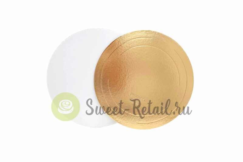 Подложка круглая 24 см. 3,2 мм. золото/жемчуг